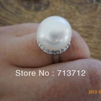 Free shipping Super Big Pearl Ring Button Pearl Natural 925 Ring Good Quality