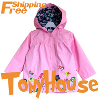 2013 High Quality Children Girl's Spring Fall Polyester Middle Length Dustcoat Brand Design Outwear Free Shipping