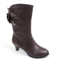 Brief comfortable cowhide genuine leather extra large plus size boots 40.41.42.43