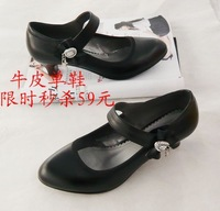 Genuine cowhide leather bow rhinestone elegant women's shoes shallow mouth leather shoes