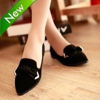 2013 women's spring and summer shoes fashion pointed toe bow flat heel single shoes nubuck cowhide low-heeled shoes buckle