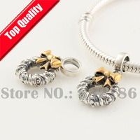 Christmas Flower Wreath Garland 925 Sterling Silver Dangle Beads with Gold Plated Bowknot, Fit Charm Bracelet YB131