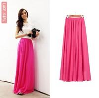 Free shipping Women Ladies Girl High Waist Pleated  Chiffon Full long Maxi  puff Skirt dress 90cm
