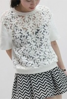 Elegant aesthetic flower cutout crochet lace shirt short-sleeve pullover short t-shirt