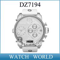 HK post free shipping New White DZ 7194 Chronograph Analog Digital Multi Function Leather Men Watch DZ7194  +original box