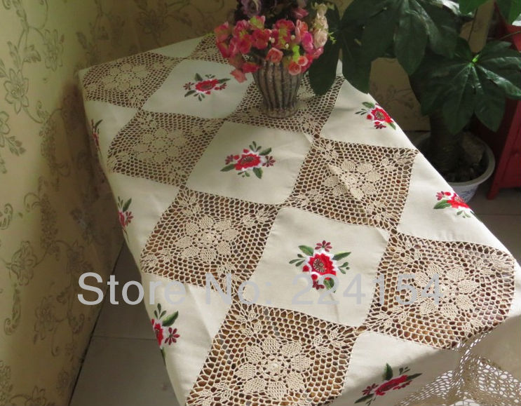 135x180 CM hand made crochet tablecloths Free Shipping!!(China (Mainland))