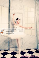 Ballet dress costumes adult ballet veil white swan feather skirts ballet dress photo