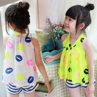 (5 pieces/lot) wholesale free shipping 2014 new summer neon baby doll chiffon sleeveless top girl's shirt children's blouses