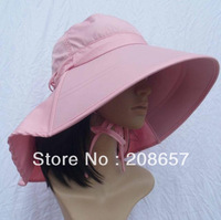 New Fashion Pink Ladies Foldable Outdoor Anti-UV Protection Sun Hat Wide Brim Hiking Cap