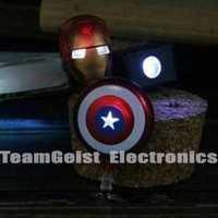 Iron Man America Captain lightning flash luminous headphone jack dust plug for Samsung Apple iphone4/4S/5 phone Free Shipping
