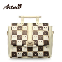 Free Shipping 2013 Designer spring clamshell messenger bag black and white plaid women's handbag messenger bag