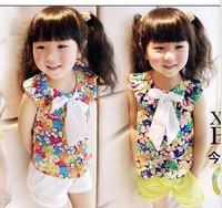 Sleeveless Summer Girl Blouse Chiffon Vest Girl Tshirt Size100-140 Kids Blouse Free Shipping 5Pcs/Lot
