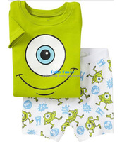 2013 Free Shipping 2pcs New Big Eye Tshirt Top Pants Pajamas Sleepwear Sets Suits For Baby Boy Girl Kids Children Infants 1-7Y