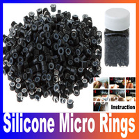 500pcs Black Silicone Micro Link Beads Rings Hair Extensions Toos Free Shipping