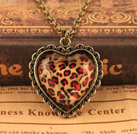 Min order $15Free Shipping Promotion  Fashion Jewellery exquisite Leopard Heart Pendant Necklace fashion necklace for female