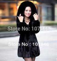 2014 Lady Genuine Natural Mink Fur Coat Jacket with Rex Rabbit Fur and Fox Fur Hoody Winter Women Fur Outerwear Coats VK0964