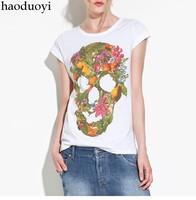 Free ship women's t shirts short sleeve 100% cotton t-shirt lady t shirt Fruit flower pattern stitching color skull