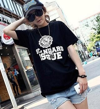 2013 plus size clothing summer mm logo 100% loose cotton t-shirt female short-sleeve