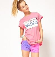 Free ship women's Printed Pink Neck t shirts short sleeve 100% cotton t-shirt lady t shirt