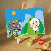 Digital oil painting oil painting mini cartoon 10 15