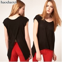 Free ship women's Cascading fishtail black cross back t shirt short sleeve t-shirt lady t shirts