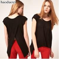 Free ship women's Cascading fishtail black cross back t shirt short sleeve t-shirt lady t shirts