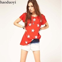 Free ship women's Star short sleeve t-shirt lady t shirts