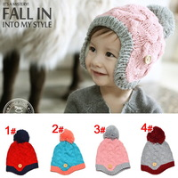 2013 newest design 1 pcs  M027-1  freeshipping!   children knitted winter caps  Kids earmuffs  Infant cap children hats