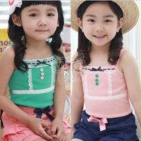 2013 summer paragraph gentlewomen laciness girls clothing baby sleeveless T-shirt spaghetti strap vest tx-0994