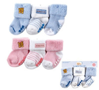 3 pair/lot Free Shipping 3 Pack Beary Cute Non- Skid Baby Socks 0-18 Months Gift Free Shipping Wholesale Drop Shipping TW007