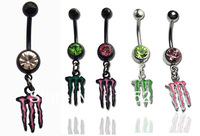 New Arrival fashion Surgical Steel Monster body jewelry Belly navel ring 316L Mixed colors 5pcs/lot fast delivery free shipping
