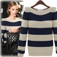 2013 autumn winter new Korean ladies fashion chic striped collar sweater striped round neck pullover