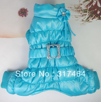 C13022B NEW Dog Pet Clothes Coat Jumpsuit Fleece Diamond Warm Blue
