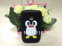case for S5380 cartoon Penguin silicone cover case for samsung Wave Y S5380 free shipping