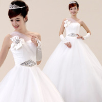 Wedding dress love wedding 2013 bride one shoulder wedding dress elegant sweet princess wedding dress