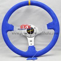 2014 newst Blue real Suede steering wheel momo steering wheel hotsale