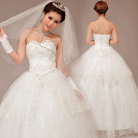 Solid color 2013 princess wedding dress tube top wedding dress puff skirt wedding dress white lace wedding dress