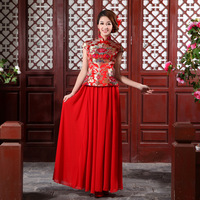 New arrival 2013 the bride married cheongsam wedding dress wedding dress evening dress long of improved cheongsam