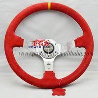 Retailer Red real Suede steering wheel momo steering wheel sport steering wheel free shipping