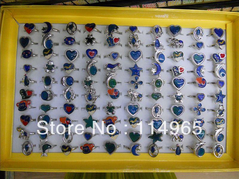 wholesale mixed mood rings 100pcs mood rings star,moon,heart,fish fashion rings jewelry Free shipping(China (Mainland))