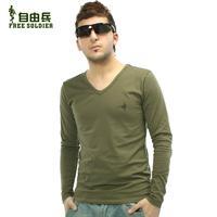 Sports outdoor male long-sleeve T-shirt V-neck basic shirt high-elastic lycra cotton