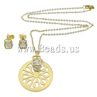 Free shipping!!!Stainless Steel,New, earring & necklace, gold color plated, with cubic zirconia, 8x13mm, 27x34x1.5mm