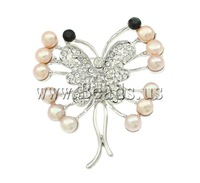Free shipping!!!Freshwater Pearl Brooch ,for Jewelry, Cultured Freshwater Pearl, with Zinc Alloy, Butterfly