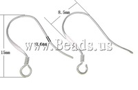 Free shipping!!!925 Sterling Silver Hook Earwire,Supplies For Jewelry, real silver plated, 15x8.50x0.60mm