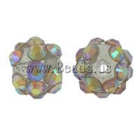 Free shipping!!!Resin Rhinestone Beads,2013 Fashion Jewelry, Round, with rhinestone, 8x10mm, Hole:Approx 1.5mm