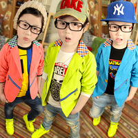 Hot Free shipping 2013 autumn new Korean plaid collar stitching baby boy bright casual suits,children's coat zipper decoration