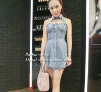 2013 women's fashion sexy cutout beaded vest slim denim one-piece dress