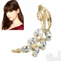New arrival punk leaf rhinestone ear cuff clip earrings studs fashion alloy ear accessory jewelry gold color&silver color