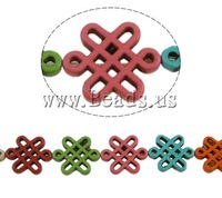 Free shipping!!!Turquoise Beads,Beautiful Jewelry, Synthetic Turquoise, Chinese Knot, mixed colors, 23x28x4mm, Hole:Approx 1mm