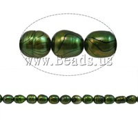 Free shipping!!!Rice Cultured Freshwater Pearl Beads,Women Jewelry, natural, green, A, 9-10mm, Hole:Approx 0.8mm